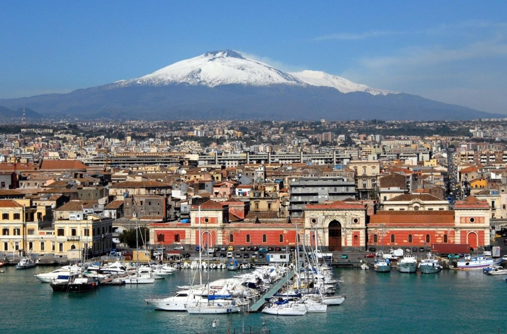 Catania from the sea with Etna in Background